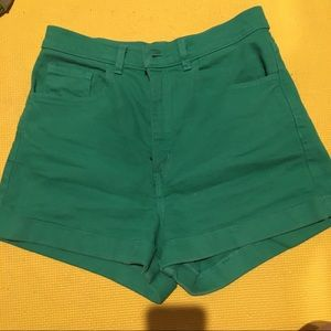 Green denim shorts American apparel